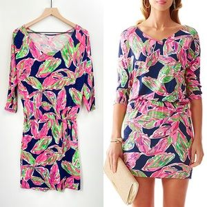 New Lilly Pulitzer Cara Dress Bright Navy in The Vias Size Small Mini Dress